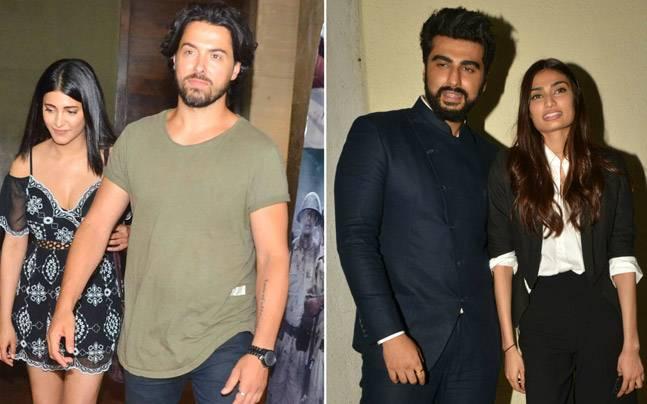 Shruti Haasan walked in hand-in-hand with rumoured boyfriend Michael Corsale at the screening of Raag Desh, while Arjun Kapoor and Athiya Shetty made heads turn at the Mubarakan screening.
