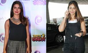 While Priyanka Chopra dazzled the press conference of her Marathi production, Kaay Re Rascalaa, Ileana D'Cruz was snapped looking pretty at the Mumbai airport.