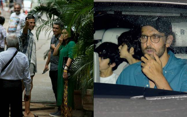While Akshay Kumar was seen at Mehboob studios, Hrithik Roshan was clicked with sons Hrehaan and Hridhaan.