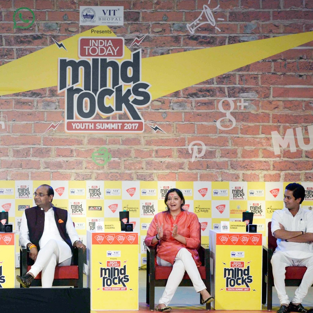 Vishwas Sarang,Jaivardhan Singh, Bhakti Sharma at India Today Mind Rocks Summit 2017