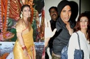 If Akshay Kumar and wife Twinkle Khanna were spotted on a movie date, Kajol was seen at a Durga Puja pandal.
