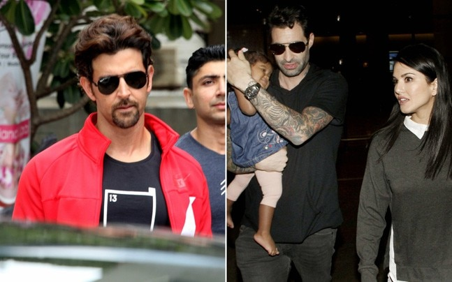 Hrithik Roshan was clicked outside the gym, while Sunny Leone returned to Mumbai with her family after the launch of the poster of her upcoming film Tera Intezaar.