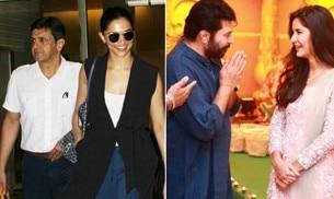 If Deepika Padukone was spotted with dad Prakash Padukone at the airport, her arch rival Katrina Kaif met Malayalam superstar Mammootty.