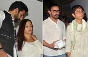 From Aishwarya Rai Bachchan to Abhishek Bachchan to Aamir Khan to Kareena Kapoor Khan, many B-Town celebs came to attend the prayer meet of Rani Mukerji's father.