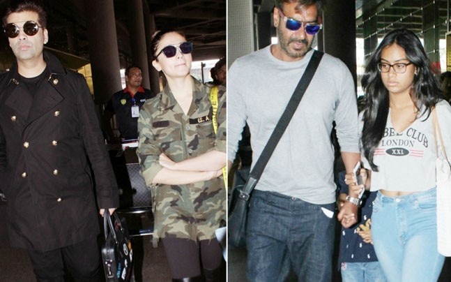 If Karan Johar and Alia Bhatt's airport style was on point, Ajay Devgn and kids returned from Goa after their mini vacation.