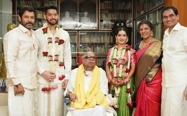 Actor Vikram's Akshita got married to her boyfriend Manu Ranjith in Chennai on Monday.