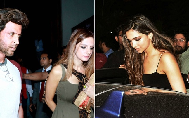 While Hrithik Roshan accompanied ex-wife Sussanne Khan to the preview of a play, Deepika Padukone stepped out with her friends from B-Town.