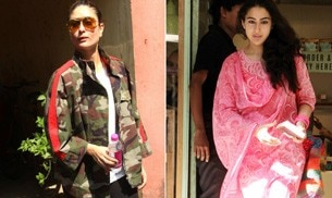 While Kareena Kapoor Khan is busy getting in shape, Sara Ali Khan looked pretty as a picture in a white and pink salwar kameez as she grabbed lunch.