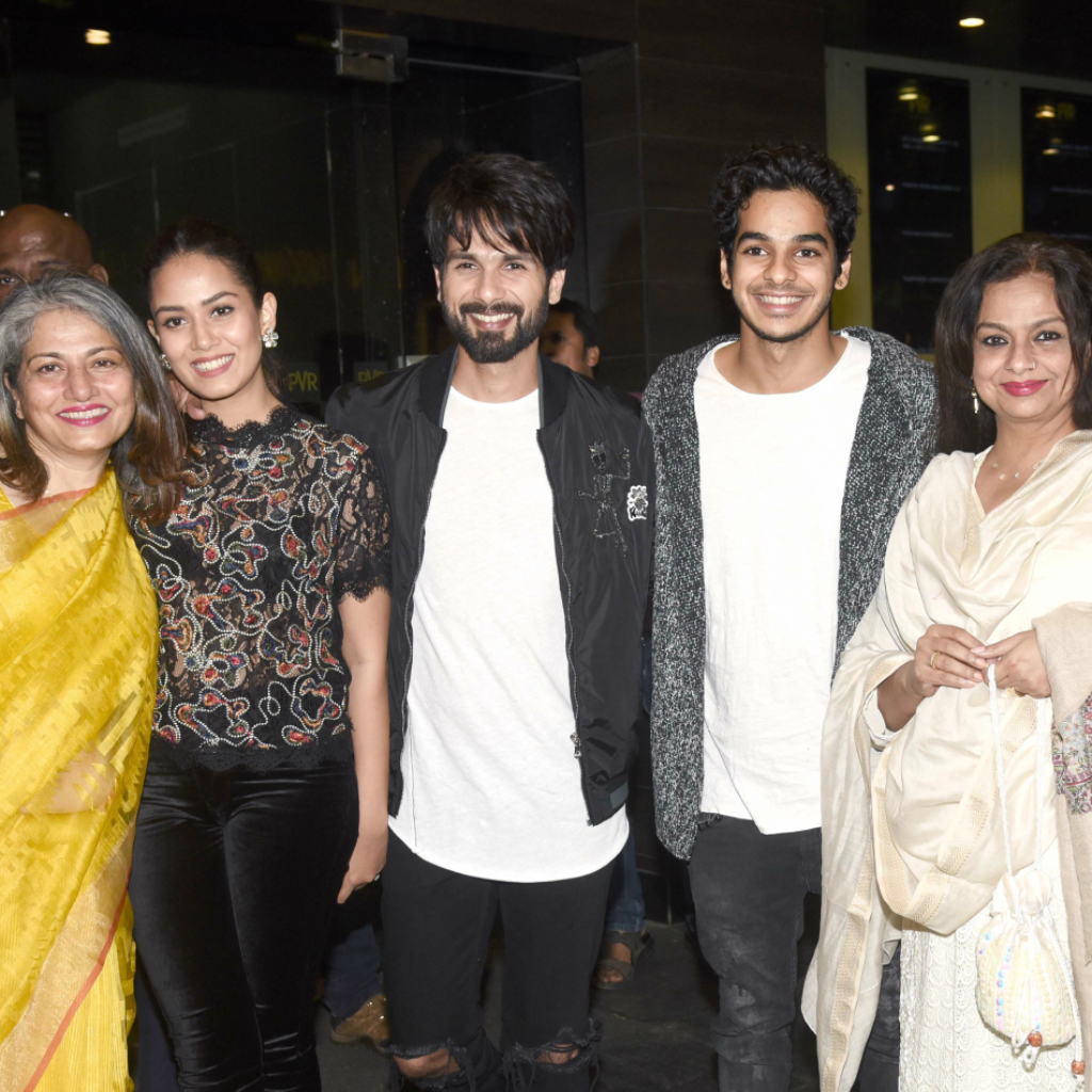 (L-R) Mira Rajput's mother Bela, Mira Rajput, Shahid Kapoor, Ishaan Khatter, Neelima Azeem