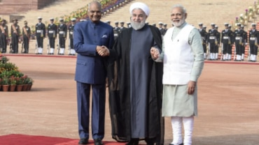 Iranian President Hassan Rouhani with PM Modi, President Kovind during reception at Rashtrapati Bhavan | PICTURES