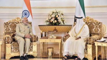 Prime Minister Narendra Modi with Crown Prince HH Mohamed bin Zayed Al Nahyan in Abu Dhabi, UAE.