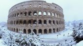 The Colosseum is seen during a heavy snowfall in Rome, Italy February 26, 2018. Picture taken with a fisheye lens.
