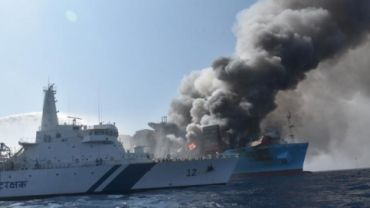 Maersk ship still ablaze, search on for 4 missing crew members