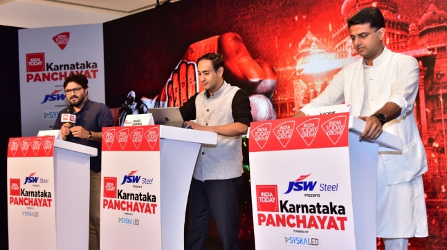 Babul Supriyo and Sachin Pilot in conversation with Rahul Kanwal at the India Today Karnataka Panchayat 2018. (Photo: India Today)