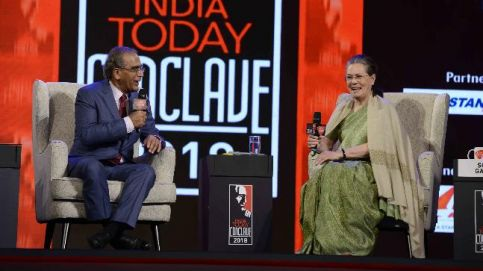 Sonia Gandhi, Chairperson, UPA with Editor-in-Chief of the India Today Group Aroon Purie