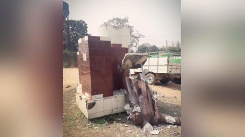 Another Lenin statue was today razed to the ground in Sabroom, Tripura.