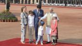 PM Narendra Modi with Canadian PM Justin Trudeau and his family at Rashtrapati Bhavan in New Delhi. (India Today/Vikram Sharma)
