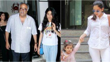 Boney Kapoor, Janhvi and Khushi