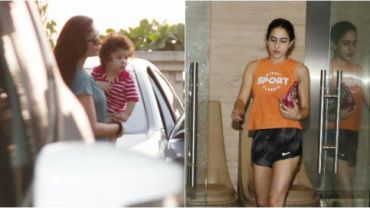 Kareena Kapoor Khan with Taimur, and Sara Ali Khan