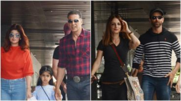 Twinkle Khanna and Akshay Kumar with daughter Nitara, and Sussanne Khan and Hrithik Roshan