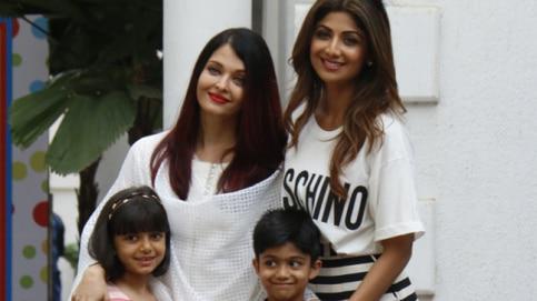 Aishwarya Rai Bachchan, Shilpa Shetty, Aaradhya and Viaan