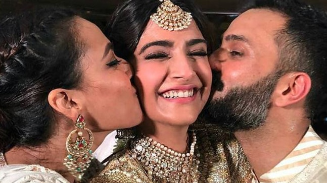 Sonam Kapoor, Anand Ahuja and Swara Bhasker