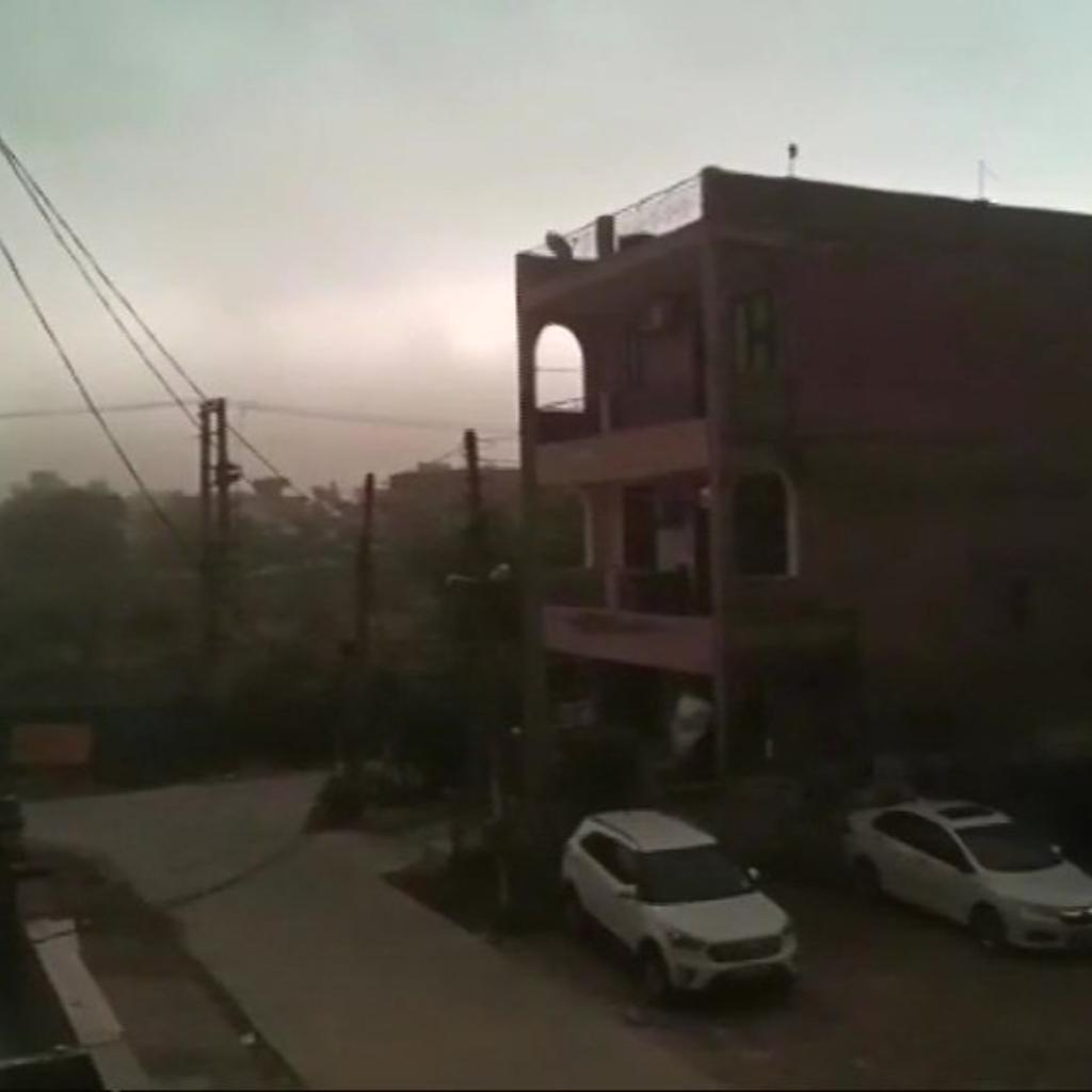 Skies in Faridabad turn dark as strong winds dust storm hit the region.