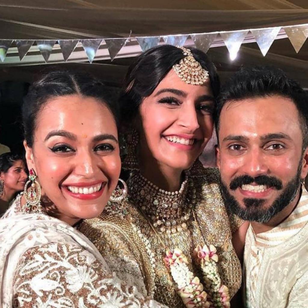 Swara Bhasker, Sonam Kapoor and Anand Ahuja