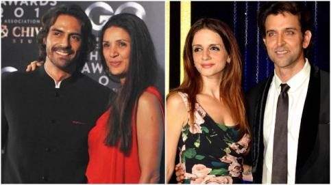 Arjun Rampal and Mehr Jessia (L) and Hrithik Roshan and Sussanne Khan