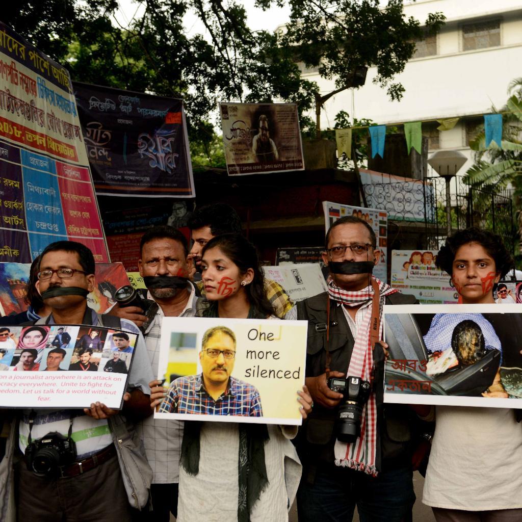 Kolkata protest Shujaat Bukhari killing