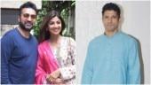 Shilpa Shetty and Raj Kundra (L) and Farhan Akhtar