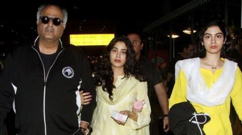 Boney Kapoor, Janhvi Kapoor and Khushi Kapoor at airport.