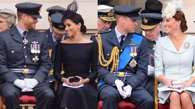 Prince Harry and Meghan Markle (L) and Prince William and Kate Middleton