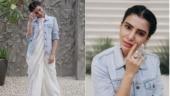Samantha spills white magic in this unusual saree-denim combo. See pics