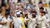 England players celebrate after beating India in Edgbaston Test