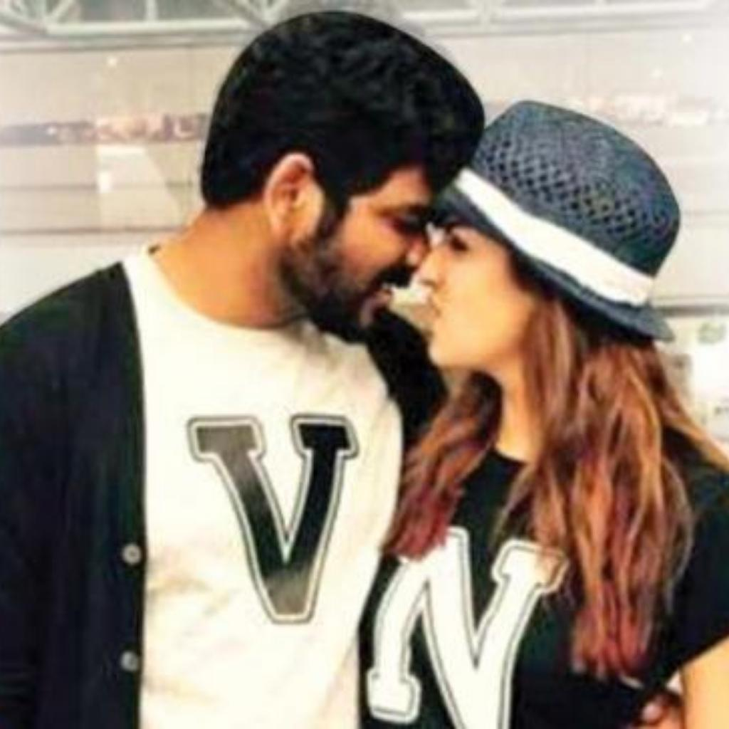 Nayanthara and Vignesh Shivan sharing a romantic moment