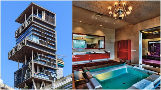 Mukesh Ambani's residence Antilia (L) is the second most expensive home in the world