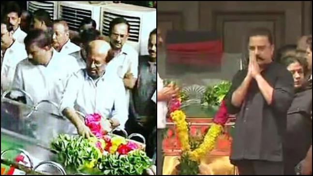 Rajinikanth (L) and Kamal Haasan pay their last respects to M Karunanidhi