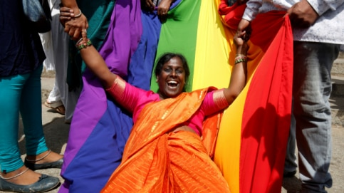 An activist of lesbian, gay, bisexual and transgender (LGBT) community celebrates after the Supreme Court's verdict of decriminalizing gay sex and revocation of the Section 377 law, in Bengaluru, India. (Photo: Reuters/Abhishek N. Chinnappa)