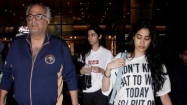 Boney Kapoor with daughters Janhvi Kapoor and Khushi Kapoor