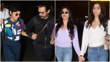 Aamir Khan and Kiran Rao and Janhvi and Khushi Kapoor walked out of the Mumbai airport hand in hand on their way back from Isha Ambani and Anand Piramal engagement