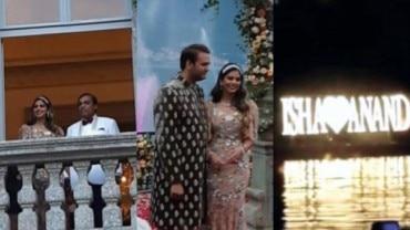 (L-R) Mukesh and Isha Ambani, Anand Piramal with Isha Ambani, and the decorations at Lake Como for the engagement