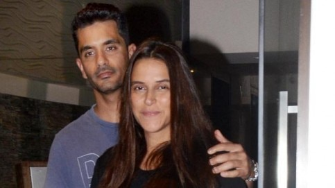 Angad Bedi and Neha Dhupia visit Soha Ali Khan and Kunal Kemmu