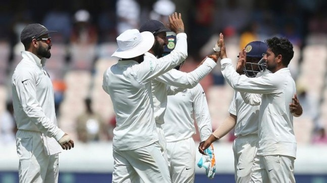 West Indies reach 295/7 at stumps on Day 1 of the second Test vs India in Hyderabad.