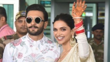 Ranveer Singh and Deepika Padukone at the Bengaluru airport