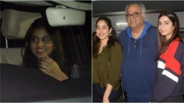 Suhana Khan (L) and Janhvi and Khushi with Boney Kapoor