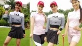 Manushi Chhillar slays in a mini skirt and crop top as she tries her hand at golf