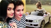Asin's daughter Arin takes a spin in car gifted by 'maasi' Raveena Tandon. See pics