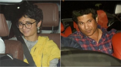 Kiran Rao (L) and Sachin Tendulkar
