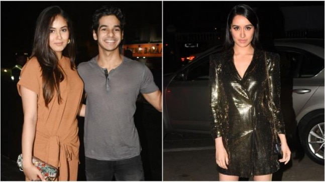Mira Rajput with Ishaan Khatter (L) and Shraddha Kapoor